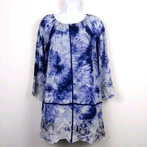 Romeo & Juliet Couture- Blue &White tie dye dress